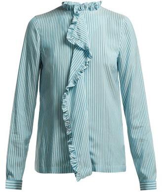 Etro Jeanette Ruffled Silk Blouse - Womens - Blue White