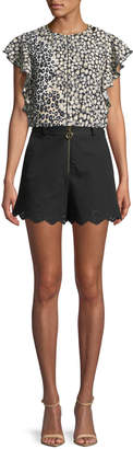 Derek Lam 10 Crosby High-Waist Stretch-Cotton Shorts with Eyelet Embroidery
