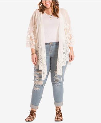 Eyeshadow Trendy Plus Size Sheer Lace-Trim Cardigan