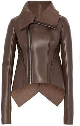 Rick Owens Layered Leather And Neoprene Biker Jacket