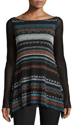 Fuzzi Boho-Stripe Sheer-Sleeve Top, Black/Multi $345 thestylecure.com