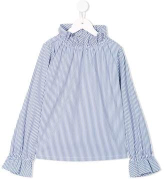 Familiar striped ruffle long sleeved blouse