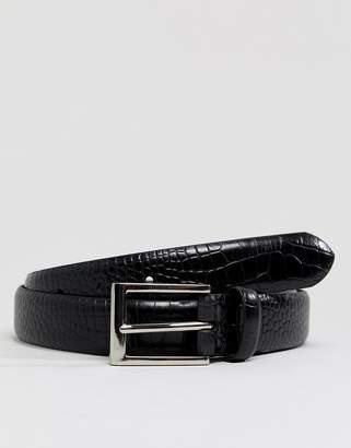 Ben Sherman belt in black faux croc