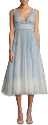 Marchesa Ombre Pleated Tulle Tea-Length Cocktail Dress