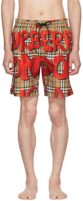 Burberry Beige and Red Graphic Check Swim Shorts
