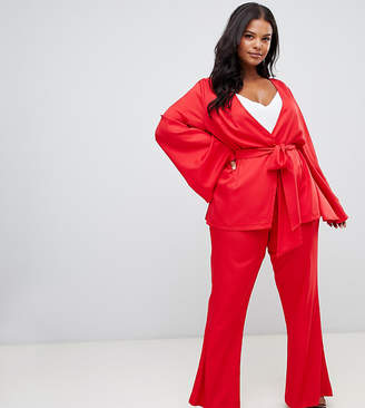 78ef0461d38 PrettyLittleThing Plus Plus tailored wide leg pants in red