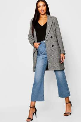 boohoo Check Double Breasted Wool Look Coat