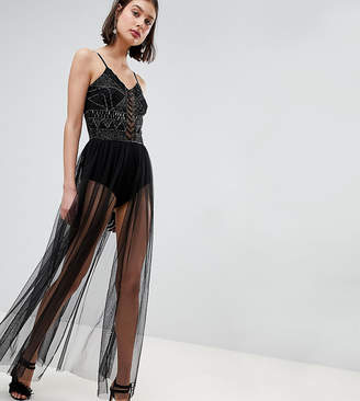 Lace and Beads Lace & Beads Embellished Bodysuit With Sheer Skirt