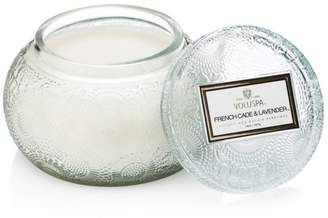 Voluspa Japonica French Cade & Lavender Embossed Glass Chawan Bowl Candle