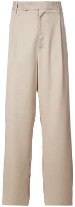 Yang Li contrast panel wide-leg trousers