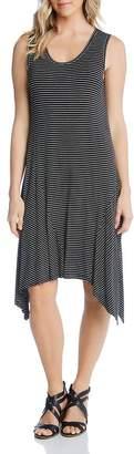 Karen Kane Sleeveless Striped Handkerchief-Hem Dress