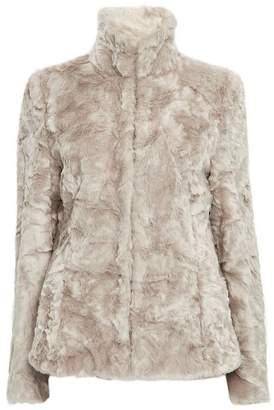 Wallis Stone Faux Fur Short Funnel Coat