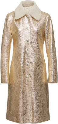 Bottega Veneta Shearling-Trimmed Metallic Cracked-Leather Coat