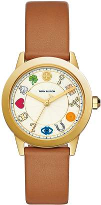 Tory Burch GIGI WATCH, BROWN LEATHER/GOLD TONE, 36 X 42 MM