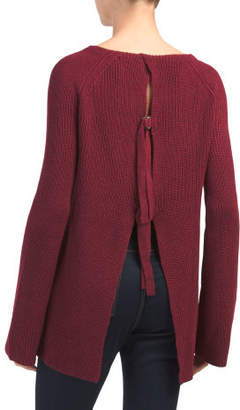Juniors Open Back Pullover Sweater