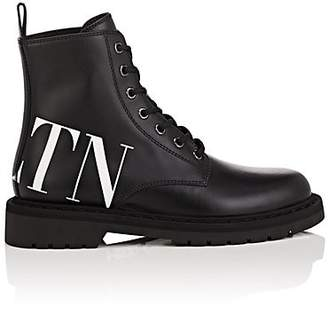 Valentino Women's Logo Leather Lace-Up Boots - Black