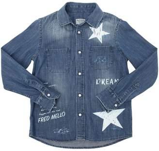 Fred Mello Star Printed Stretch Light Denim Shirt