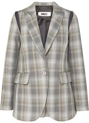 MM6 MAISON MARGIELA Cutout Checked Cotton-blend Blazer - Gray