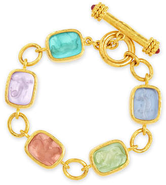 Elizabeth Locke Antique Animals Intaglio 19k Gold Toggle Bracelet, Bright Pastel