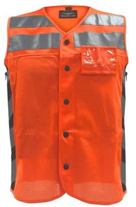 Missing Link Men's Meshed Up Safety Vest Hi-Viz Reflective, Orange (3XL) - 3X-Large MUMO