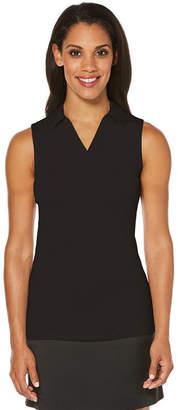 PGA Tour TOUR Womens Y Neck Sleeveless Polo Shirt