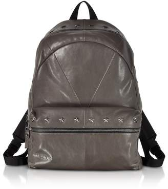 Jimmy Choo Reed Bls Biker Smoke Leather Backpack W/studded Stars