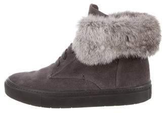 Vince Fur Trim Suede Sneakers