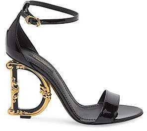 Dolce & Gabbana Women's Sculpted-Heel Patent Leather Sandals