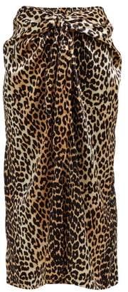 Ganni Leopard Printed Silk Blend Midi Skirt - Womens - Leopard