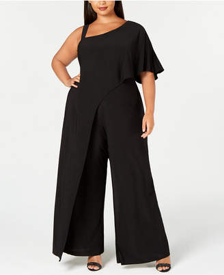 aad38f1dc41b5 R   M Richards Plus Size One-Shoulder Jumpsuit