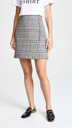 ADAM by Adam Lippes Scottish Tweed Mini Wrap Skirt with Buttons