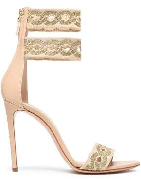 Casadei Metallic Jacquard And Leather Sandals