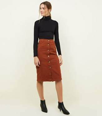 New Look Rust Button Up Denim Midi Skirt