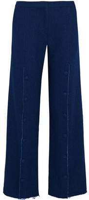 Mother of Pearl Button-Embellished Cotton-Twill Wide-Leg Pants