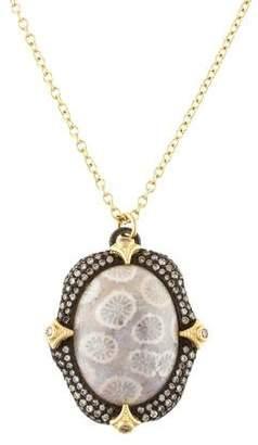 Armenta Fossilized Coral & Diamond Pendant Necklace