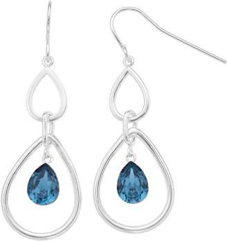 Brilliance+ Brilliance Swarovski Crystal Double Teardrop Hoop Earrings