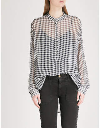 The Kooples Checked silk-chiffon shirt