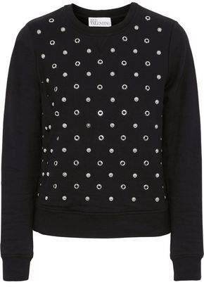 RED Valentino Embellished French Cotton-Terry Sweatshirt