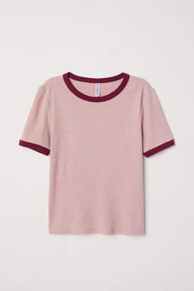 H&M Ribbed T-shirt - Pink