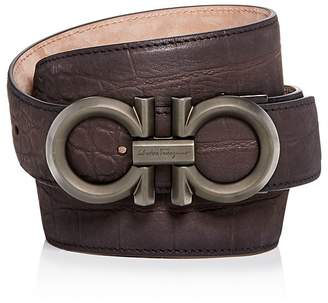 Salvatore Ferragamo Croc Embossed Suede Reversible Belt
