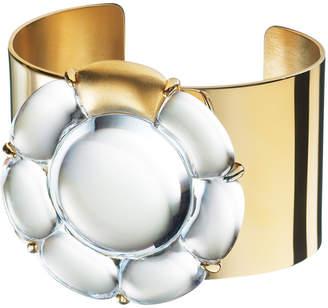 Baccarat B Flower 18K Over Silver Vermeil Crystal Cuff