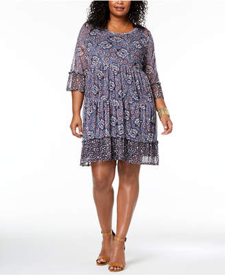 Style&Co. Style & Co Plus Size Printed Lantern-Sleeve Empire-Waist Dress, Created for Macy's
