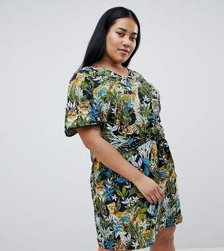 Junarose tropical print tie front dress