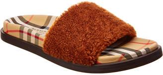 Burberry Kencot Vintage Check & Shearling Slide