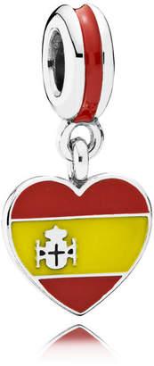 Pandora Spain Heart Flag Pendant Charm - Enamel / Sterling Silver / Yellow
