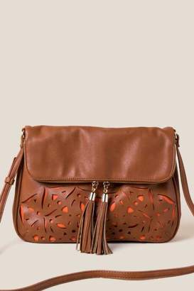 francesca's Dallas Perforated Crossbody - Cognac