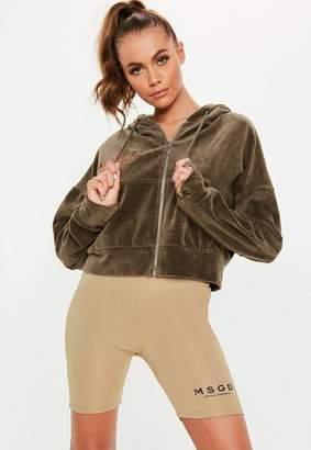 Missguided Khaki Velour Hooded Sweatshirt