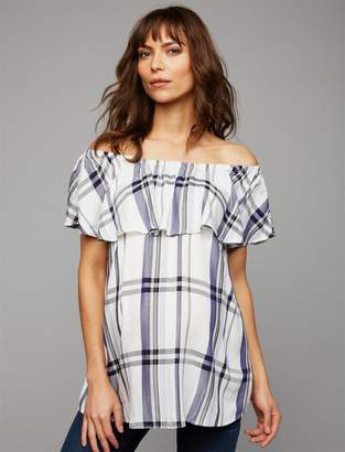 A Pea in the Pod Luxe Essentials Denim Ruffled Off The Shoulder Maternity Top