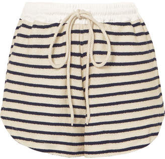Bassike Striped Cotton-canvas Shorts - Navy