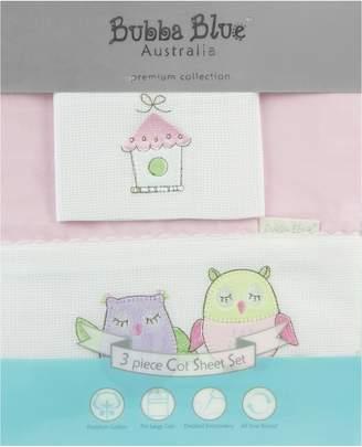 Bubba Blue Baby Owl Cot Sheet Set, Pink